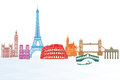 European landmarks illustrated set of from different countries with white background Stock Image