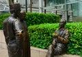 European, Malay and Chinerse merchants` statue, Singapore Royalty Free Stock Photo