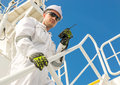 European man in white workwear and helmet with vhf engineer goggles Royalty Free Stock Images
