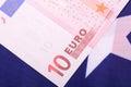 European money on american flag Royalty Free Stock Photo