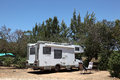 European motorhome camping portugal Royalty Free Stock Photo