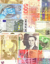 European notes background Royalty Free Stock Photos