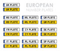 European number plates set of Royalty Free Stock Photography
