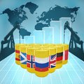 European oil power barrels with the flags of countries on the world map with derricks and growth chart Royalty Free Stock Images