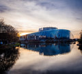 European Parliament building in Strasbourg at dusk Royalty Free Stock Photo