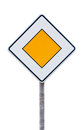 European priority road sign Royalty Free Stock Photo