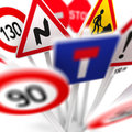 European road signs closeup of d illustrated Royalty Free Stock Images