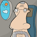 European senior man large nose airplane seat Stock Photo