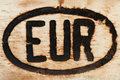 European sign engraved on a piece of wood Stock Image