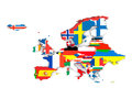 European states political map of europe with state flags isolated on white background Royalty Free Stock Images