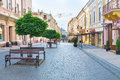 The european street chernivtsi ukraine june olha kobylanska was recently restored and decorated with small trees that provide Stock Photography