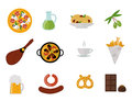 European tasty food cuisine dinner food showing delicious elements flat vector illustration.