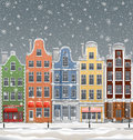 European town at winter illustration of old with historical buildings Royalty Free Stock Photos