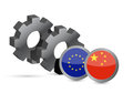 European Union and chinese flags on a gears Stock Image