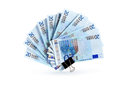 European union currency bank notes as fan on white background clipping path is included Royalty Free Stock Photography
