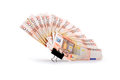 European union currency bank notes as fan on white background clipping path is included Royalty Free Stock Photos