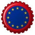 European union flag on bottle cap Royalty Free Stock Photo