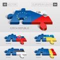 European union flag d vector puzzle set and czech slovakia ukraine estonia romania Royalty Free Stock Image