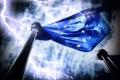 European Union flag on dark thunderstorm sky background Royalty Free Stock Photo