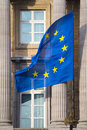 European Union Flag on Federal Parliament of Belgium in Brussels. Royalty Free Stock Photo