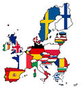 European union flag map a of the with each country colored in with their non member states have been removed Stock Photos