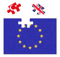 European Union flag missing United Kingdom Great Britain jigsaw puzzle piece, Brexit, EU sunset, Turkey in, replacement Royalty Free Stock Photo