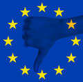 European Union flag with negative hand gesture Royalty Free Stock Photography