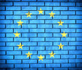 European union flag official on thebrick wall Royalty Free Stock Photo