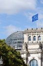 European union flag and reichstag berlin germany Royalty Free Stock Image