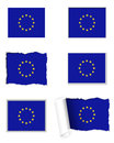 European union flag set detailed and accurate illustration of Royalty Free Stock Photos