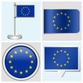 European union flag set of sticker button labe various label and flagstaff Stock Images