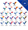 European Union flags Stock Image