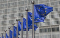 European Union Flags in Brussels Royalty Free Stock Photo