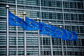 European union flags at the commission building in brussels belgium Royalty Free Stock Photography