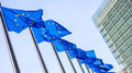 European Union flags in front of the Berlaymont building Royalty Free Stock Photo