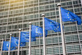 European union flags in front of the berlaymont building commission brussels belgium Royalty Free Stock Photography