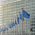 European union flags in front of the berlaymont building commission brussels belgium Stock Photography