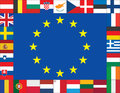 European union flags icons frame Stock Image