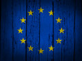 European union grunge background with eu flag painted on wooden aged wall Royalty Free Stock Images
