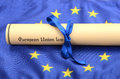 European union law on the flag eu legal system concept Royalty Free Stock Image