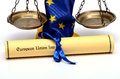 European union law flag and scales of justice Royalty Free Stock Photos