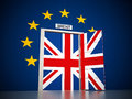 European Union map around open door leading to British flag. 3D illustration Royalty Free Stock Photo