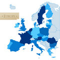 European Union map, isolated on white Royalty Free Stock Photos