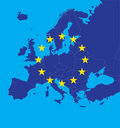 European Union map with stars Royalty Free Stock Photo