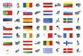 European union modern style flags with maps Royalty Free Stock Image