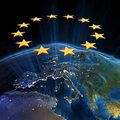 European Union at night Royalty Free Stock Photography