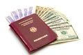 European union passport with money on white background Stock Photography