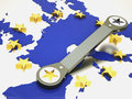 European union repaired using wrench Royalty Free Stock Photos