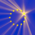 European union star light flare a design come from the eu flag with rays and flares shining through stars with one specially Royalty Free Stock Images