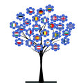 European union tree with flowers made of flags Stock Images